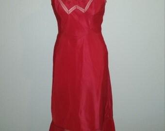 Weekend Sale 34% off 1940s Red Slip by Barbizon, Endear Taffeda, Pleated Ruffled Hem, Size 34 Bust, #59899
