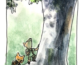 Old Friends -- Hikers with Tree -- Digital Watercolor Print -- Art