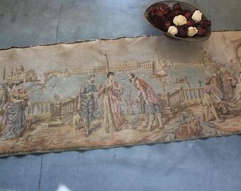 Vintage Romantic Classical Venice Scene Tapestry Made in Belgium