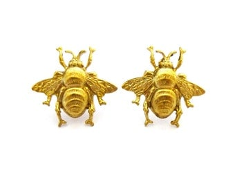 Honey Bee Earrings Gold Bumblebee Studs Nature Jewelry Woodland Garden Bride Accessories Minimalist Vintage Style Womens Gift For Her Spring