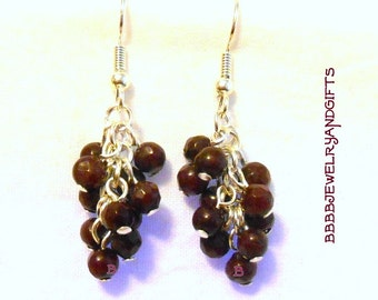 Garnet  Earrings Cluster Silver Plated Surgical Steel French Hooks Super Sale USA