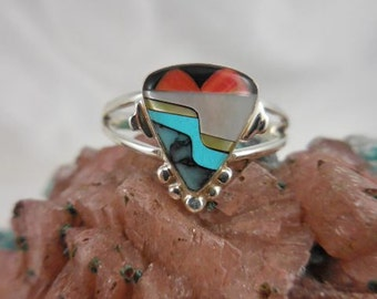 Native American Zuni Turquoise Coral Sterling Silver Ring