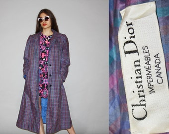 1980s  Designer Christian Dior Women's Purple Plaid Raincoat Jacket  - Vintage Rain Coat - Vintage Dior  - WO0653