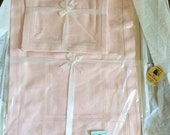 Vintage 1940s Linens Deadstock In Original Box Pure Linen One Set Of 4 Placemats 4 Napkins Light Dusty Pink