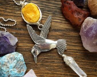 Hummingbird pendant necklace, yellow druzy and hummingbird necklace, bird necklace