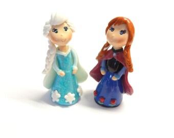 Anna & Elsa Figurines Set, Cake Topper, Cupcake Topper, Pendant, Keepsake, Gift, Ornament, Cold Porcelain Clay Princess Figurine