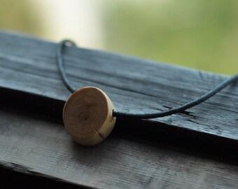 men necklace  •  wood pendant  •  wooden necklace
