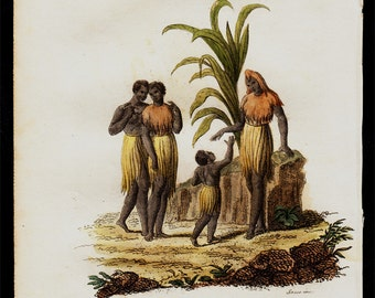 1823 Antique print of EXOTIC tribe woman, fine hand colored engraving 193 years old