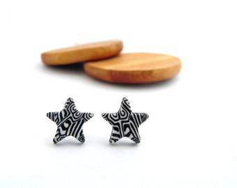 Monochrome Star Stud Earrings, Black and White, Hypo Allergenic, Fimo Professional Polymer Clay & Stainless Steel, Supremily Jewellery