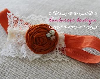 baby headband, orange headband, fall headband, photography prop, petite rosette on lace, newborn headband, vintage headband