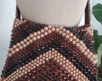 60s BEADED SHOULDER BAG—Black, Beige & Brown Chevrons—Made of Fabric—Metal Zipper