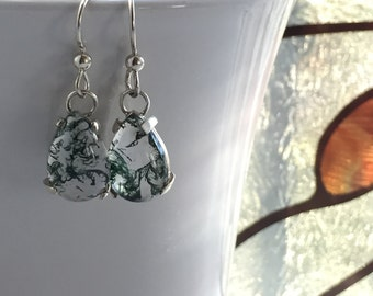 Green Moss Agate Pear Drop Earrings in Sterling Silver