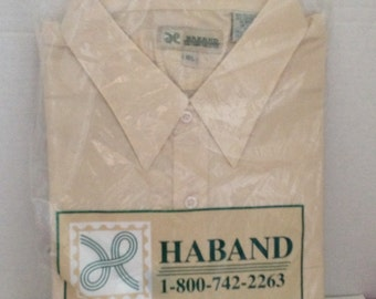 Haband Shirt Mens Size 18.5 Beige Short Sleeve Vintage in Package 18 1/2 Poly Cotton