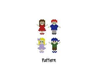 Family Charm Pendant Beading PATTERN, Mom Dad Sister Brother | PDF File