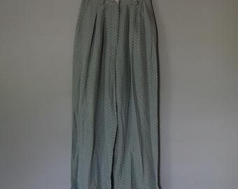 sea glass blue silk pants | roll cuff pants | scale print silk pants / s