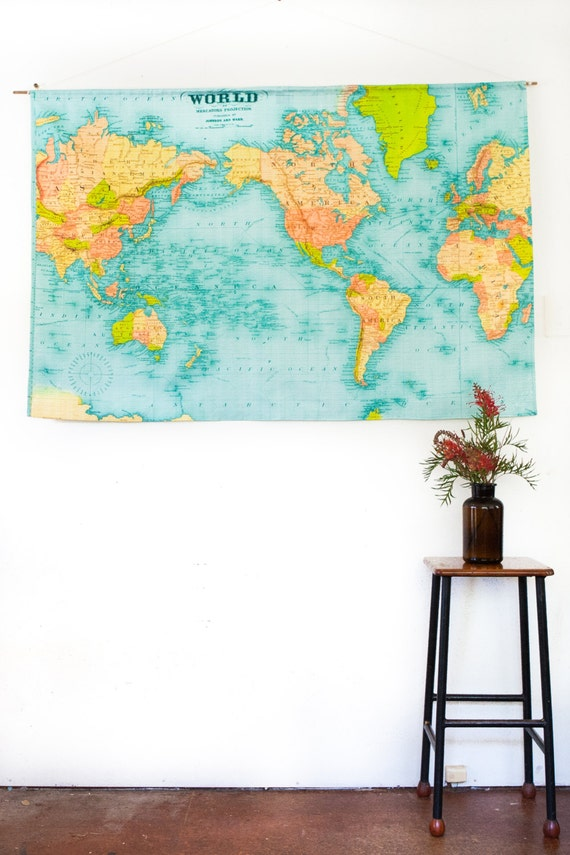 VINTAGE WORLD MAP / world map wall hanging/  linen cotton, 57 inches / 145cm long x 36inches/92cm / wall hanging /wedding gift