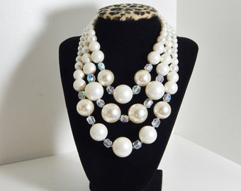Vintage Necklace 50's Mid Century Beaded Triple Strand Necklace Japan White Pearl & Crystal Beads Statement Formal Wedding