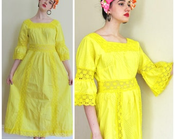 Vintage 1970s Yellow Maxi Dress / 70s Cotton Dress with Crochet Trim / Medium to Large
