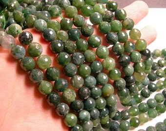 Moss agate - 10 mm faceted round beads -1 full strand - 38 beads  - RFG1005