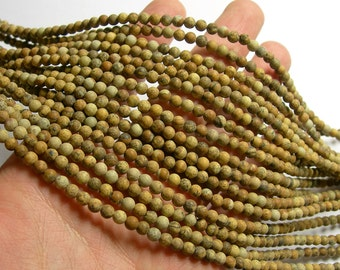 Picture Jasper matte - 4mm round beads -  full strand - 93 beads - Matte picture jasper - RFG1042