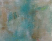 Abstract Landscape/ Seascape Original Painting- Bronze Turquoise Sea  16 x 40