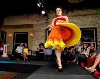 size Medium: Handmade One-of-a-Kind Sunrise Crochet Dress