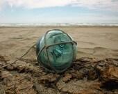 """Japanese Glass Fishing Float - Embedded Nail, 2.6"""" Diameter, Original Net"""