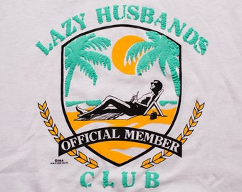 Lazy Husband's Club T-Shirt, Official Member, Funny Beach Graphic Tee, Vintage 80s