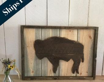 Buffalo Home Decor - Bison Art -  Rustic Wyoming Home Decor - Hand Cut Buffalo - Native American Wall Hanging - Buffalo Sign