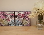 Life And Death - Original Oil Painting Set - 2 6x6 Inch Paintings Tattoo Day Of The Dead Art Sugar Skull