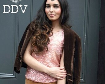 Barbara, Vintage, Chocolate Brown Suede Velvet Blazer Jacket