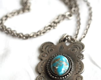 French Vintage, Silver, Turquoise, Bohemian Necklace from Paris
