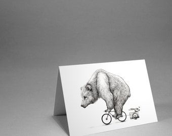 Bear Biking - Card - Cycling bear with Hare and moth in tow greetings card.
