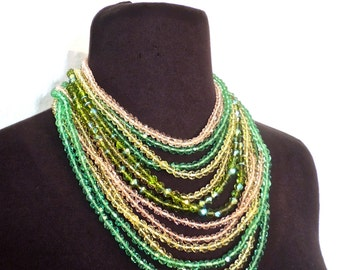 vintage czech bead necklace - 1940s-50s pastel multi-strand collar necklace