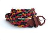 Vintage Woven Leather Belt Handmade Colorful belt Unisex leather belt Multicolor Belt Colorful leather belt Argentina