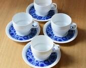 Vintage Lotus Coffee Cup Set Bjorn Wiinblad Rosenthal Studio Line Blue White Benares