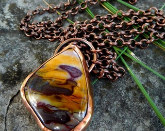 "Copper Mookaite necklace - 35"" long 