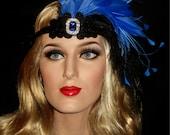 ROYAL FLAPPER Headband, 20s Deco Headband, Royal Blue And Black Crystal Gatsby Headband, Old Hollywood 20s Electric Blue Flapper Headband