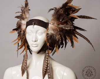 Earthy brown pheasant feather headdress / Boho feather bird skull headpiece /Spotted pheasant feather tassels / Edgy fashion / Burning man