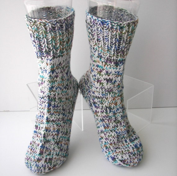 Knitting Pattern Thick Wool Socks : Hand Knit MERINO Wool THICK Socks in Enchanted Garden colors