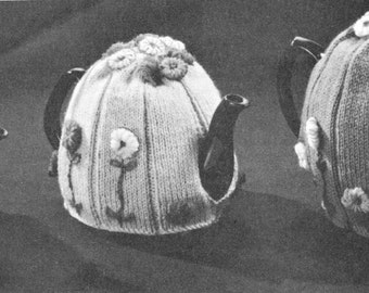 vintage knitting pattern teapot cosy tea cozy flower knit printable pdf instant download fingering weight yarn