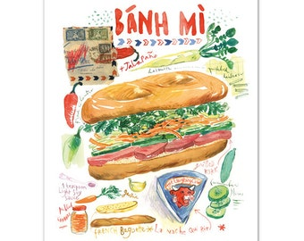 Banh mi vietnamese sandwich illustration print, Kitchen art, 8X10, Illustrated recipe, Asian food poster, Watercolor painting, Home decor