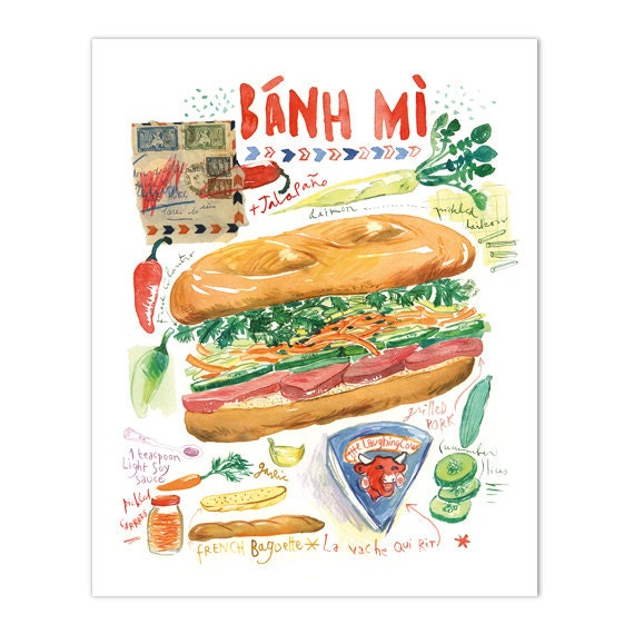 Vietnamese Food Banh Mi Illustration Print Kitchen Art