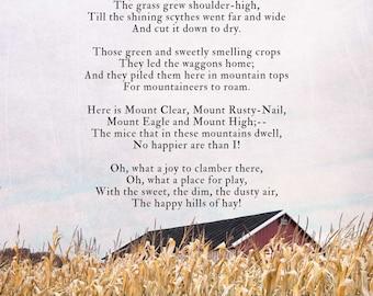 Robert Louis Stevenson poem, The Hayloft, farm photography print, red barn