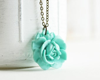 Blue Flower Necklace - Aqua Blue Necklace, Resin Flower Pendant Necklace with Antiqued Brass Chain, Blue Rose Necklace, Fashion Jewelry