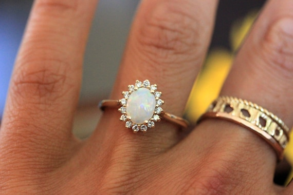 Opal Engagement Ring Vintage Inspired Diamond Halo Yellow