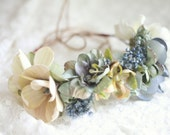 Floral Crown - Floral Halo -  Rustic Blue - Photography Prop
