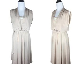 80s Beige Dress / 70s Sheer Dress / 1980s Sleeveless Dress / 70s Disco Dress / Lace Applique Dress / 70s Beige Dress / Shelby Place 12 M L