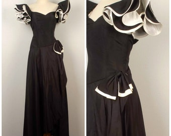 Black and white 80s Vintage Big Puffy Sleeve Prom Dress Long 80s Party Bridesmaid Cocktail Dress size 0 XS