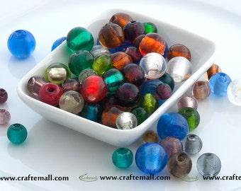 Glass beads mix of 20 beads - 8-16mm glass beads mix - silver foil glass beads, colorful glass beads, silver foil beads, glass bead mix